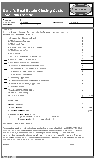 Printables Good Faith Estimate Worksheet download real estate closing costs good faith estimate excel
