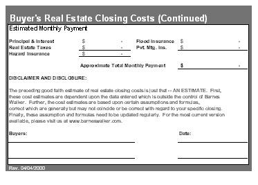 Printables Good Faith Estimate Worksheet download real estate closing costs good faith estimate estimate